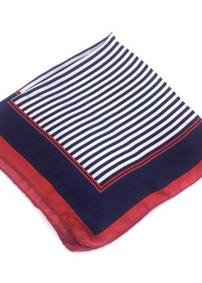 Polyester Red and Blue Striped Square Scarf
