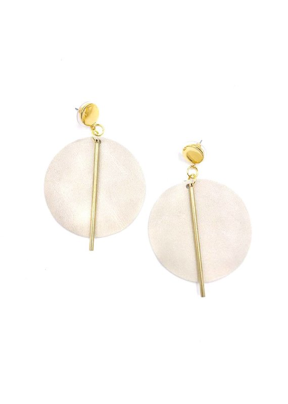 Ink + Alloy Ivory Leather Circle Earrings