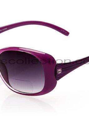 NYS Trendy Big Oval Sunglasses Purple/+1.00