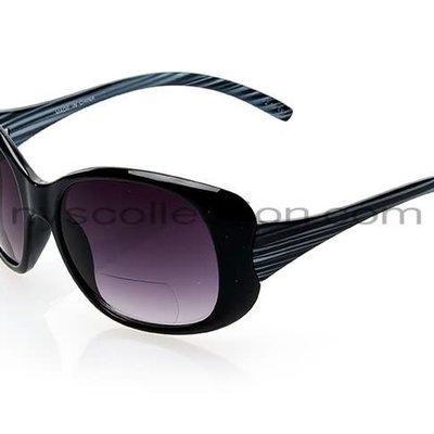 NYS Trendy Big Oval Sunglasses Black/+1.50