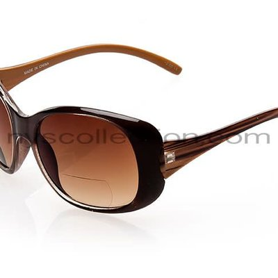 NYS Trendy Big Oval Sunglasses Brown/+1.25