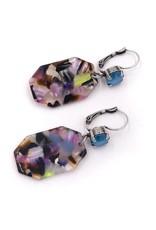 Rachel Marie Octagon Acrylic Earrings Multicolor w Light Azure