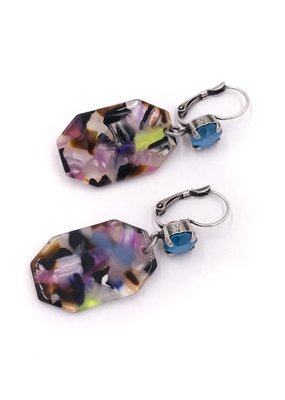 Rachel Marie Octagon Acrylic Earrings Multicolor w Light Azure