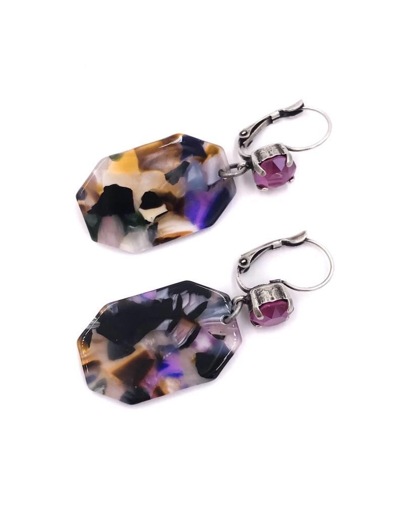 Rachel Marie Octagon Acrylic Earrings Pink Peony