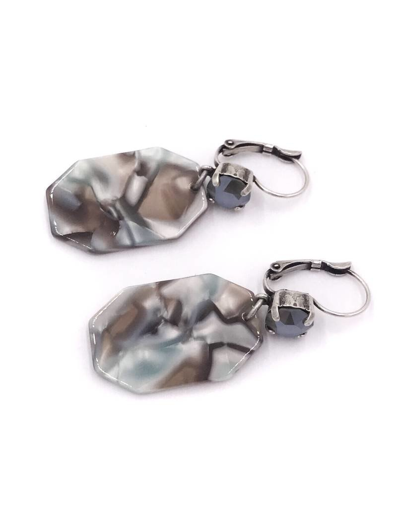 Rachel Marie Octagon Acrylic Earrings Blue & Dark Grey