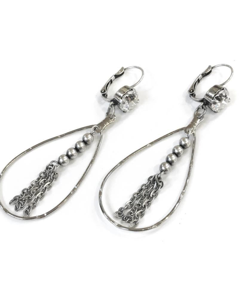 Rachel Marie Teardrop Swarovski Earring w Beaded Accent Clear