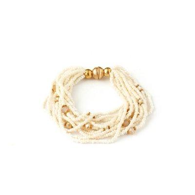 Splendid Iris White Beaded Multi Layer Magnetic Closure Bracelet Gold