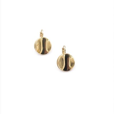 Bud to Rose Swedish Stainless Steel 14K Gold Plated Layered Circles French Clip Earrings