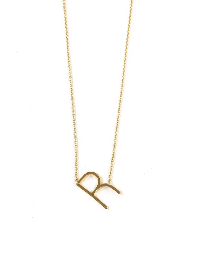 iiShii Sterling Silver Gold Plated Initial R Necklace