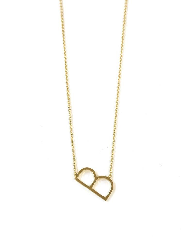 iishii Sterling Silver Gold Plated Initial B Necklace