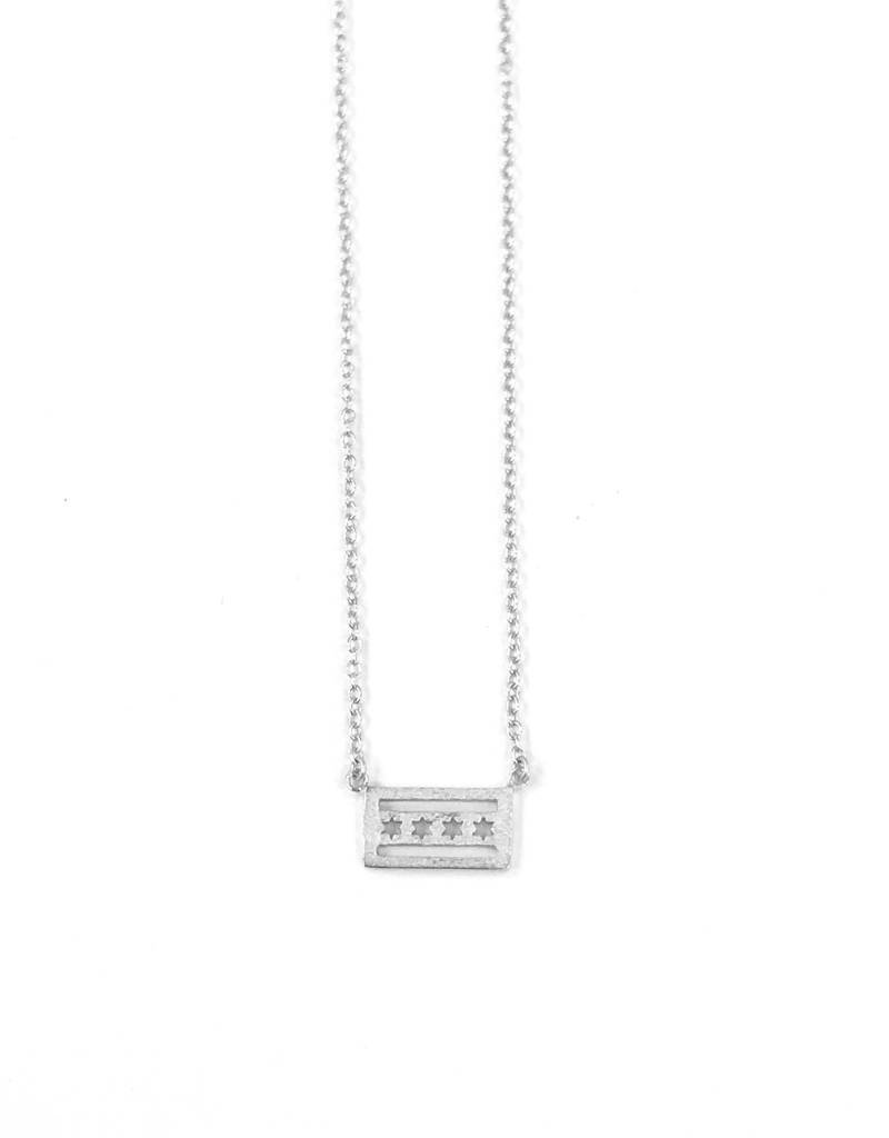 iiShii Sterling Silver Chicago Flag Necklace