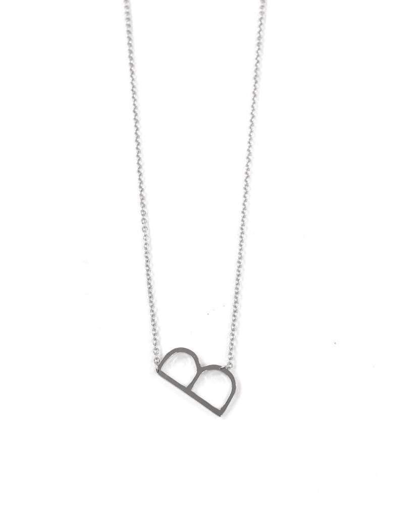iishii Sterling Silver Initial B Necklace