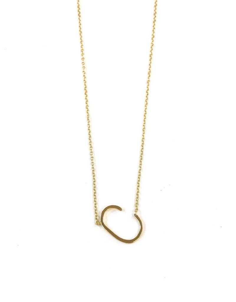 iiShii Designs Sterling Silver Gold Plated Initial C Necklace