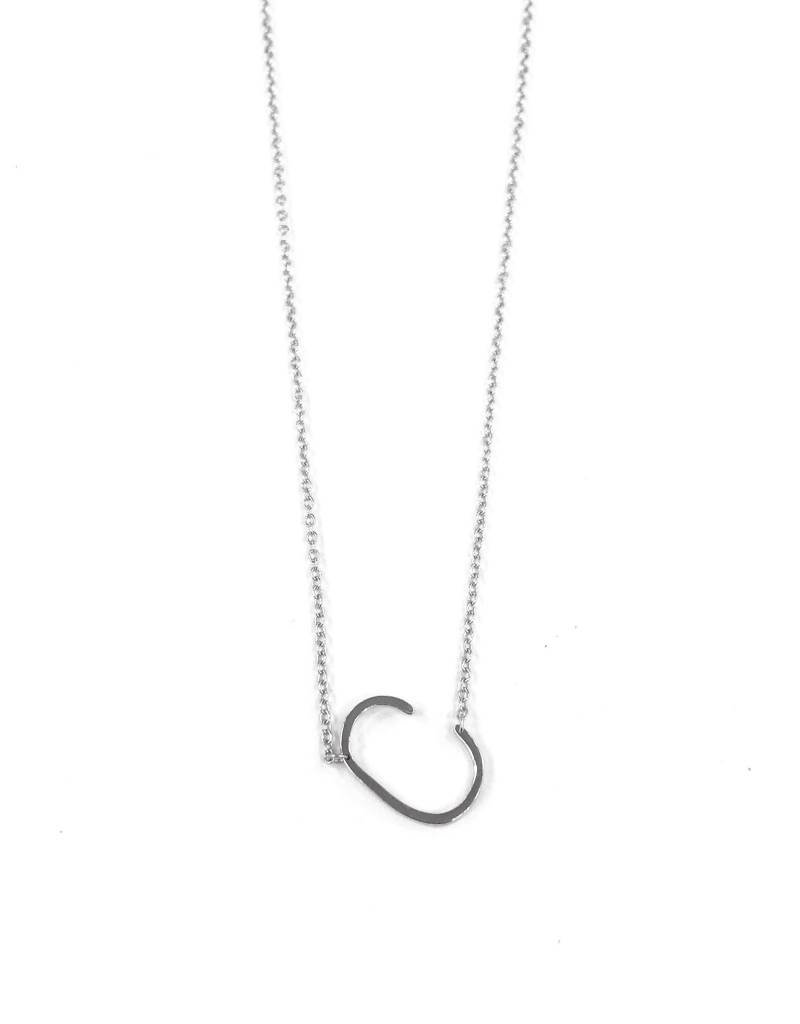 iiShii Sterling Silver Initial C Necklace