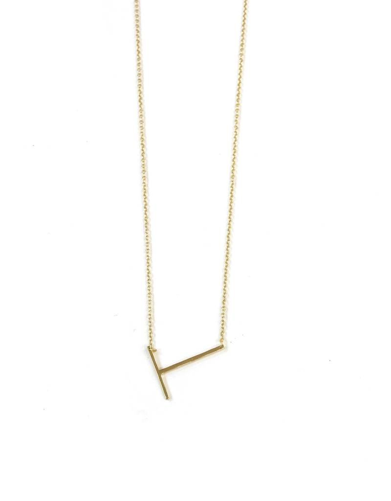 iiShii Sterling Silver Gold Plated Initial T Necklace
