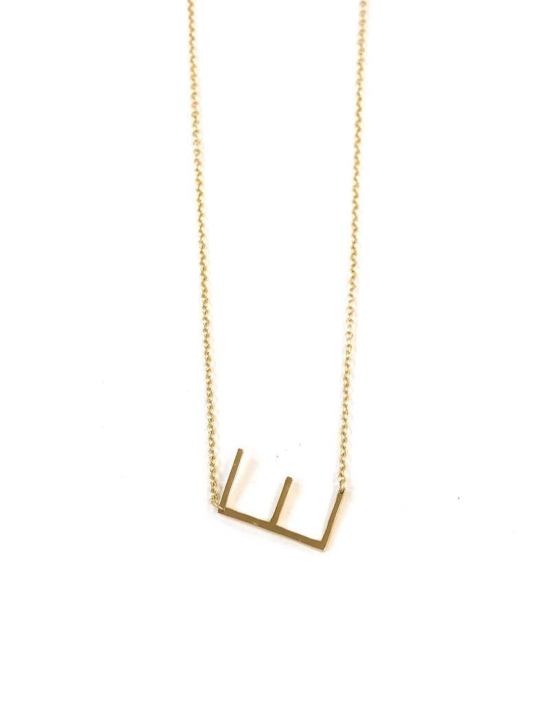 iiShii Sterling Silver Gold Plated Initial E Necklace