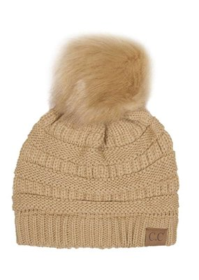 C.C. Camel Knit CC Hat with Color Matched Pom