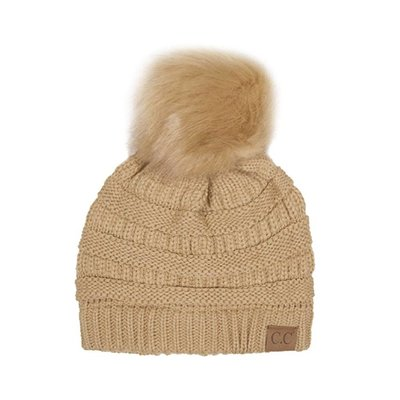 C.C. CC Camel Knit Hat with Color Matched Pom
