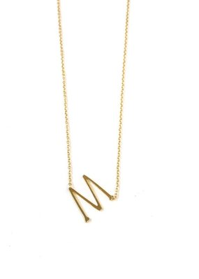 iishii Sterling Silver Gold Plated Initial M Necklace