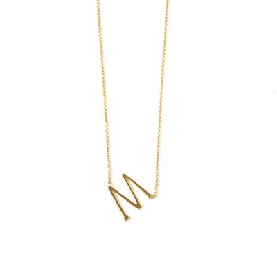 iiShii Designs Sterling Silver Gold Plated Initial M Necklace