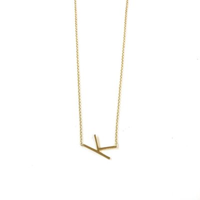 iiShii Designs Sterling Silver Gold Plated Initial K Necklace
