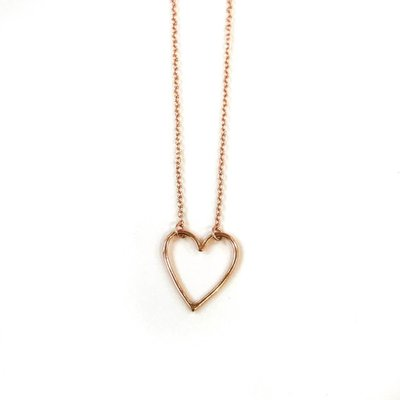 iiShii Designs Sterling Silver Rose Gold Plated Heart Necklace