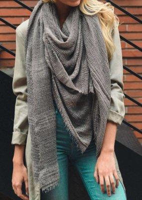 Gray Shredded Weave Open Blanket Scarf