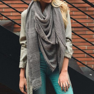 Gray Shredded Weave Open Blanket Scarf