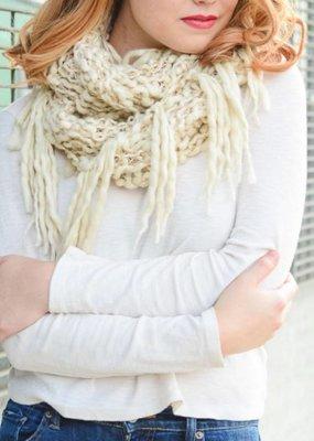 Ivory Gold Chunky Knit Infinity Scarf