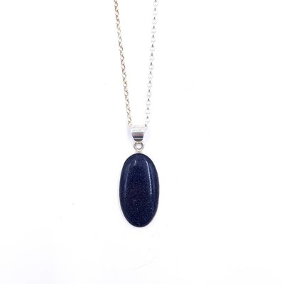 Italian Sterling Silver Blue Gold Stone Pendant Necklace
