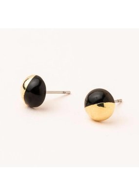 Scout Black Spinel Gold Dipped Stone Stud Earring