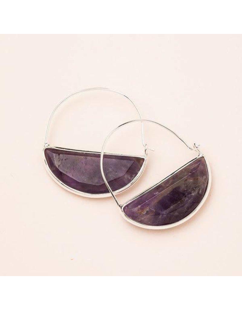 Scout Amethyst & Silver Stone Prism Hoop