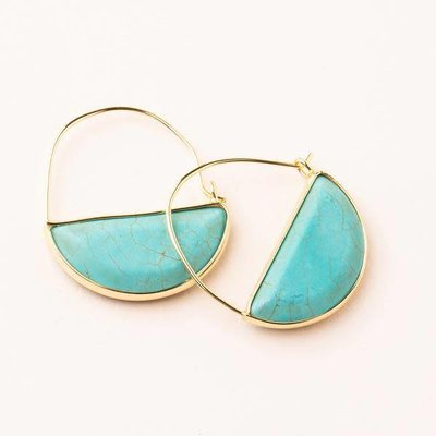 Scout Turquoise & Gold Stone Prism Hoop