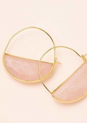 Scout Rose Quartz & Gold Stone Prism Hoop