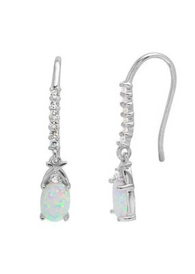 Qualita In Argento Sterling Silver White Opal with CZ Earrings