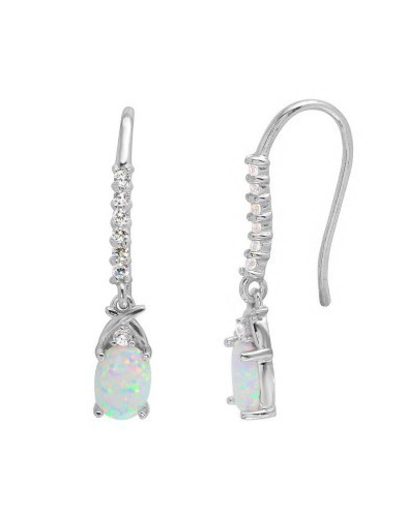 Qualita In Argento Italian Sterling Silver White Opal with CZ Earrings