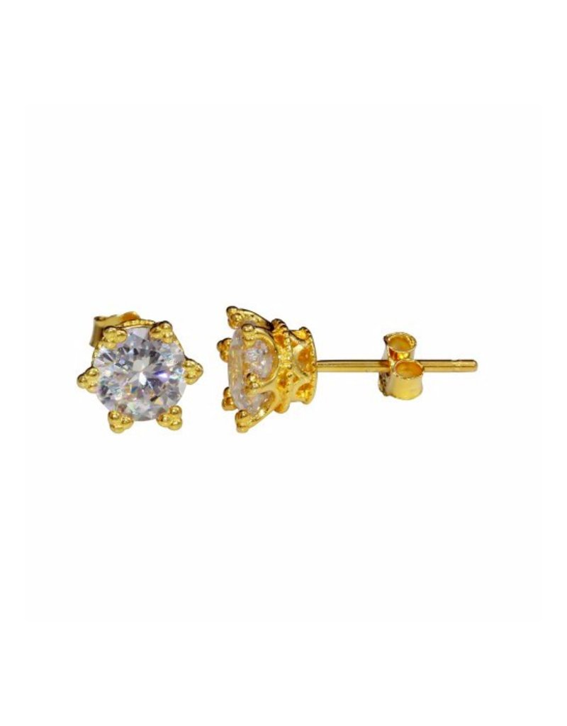 Sterling Silver Gold Plated Royal Stud Earrings