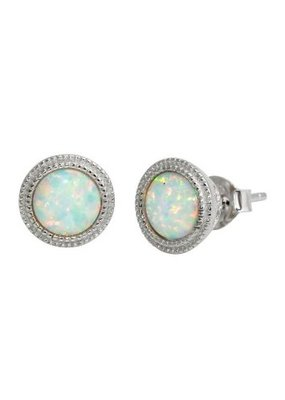 Qualita In Argento Italian Sterling Silver Round Opal Studs