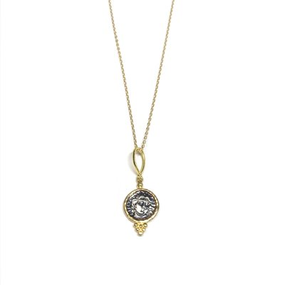 Qualita In Argento Italian Sterling Silver Gold Plated Coin Pendant