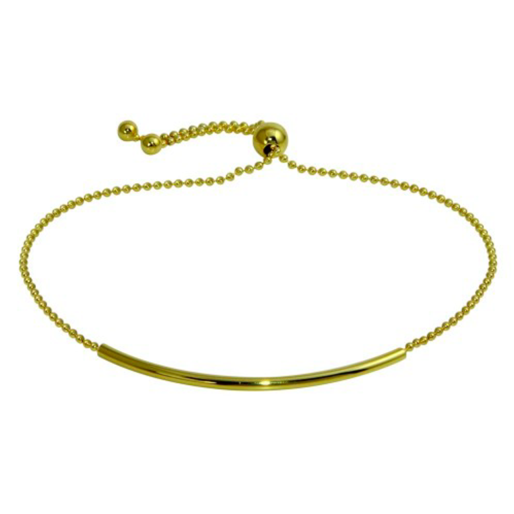 Qualita In Argento Italian Sterling Silver Gold Plated Tube Bead Lariat Bracelet