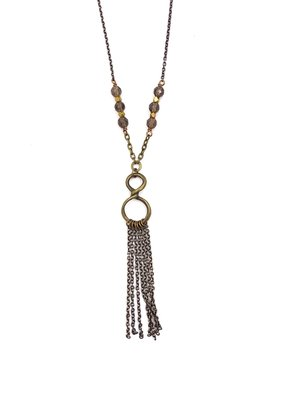 Edgy Petal Smoky Crystal and Brass Infinity Tassel Necklace