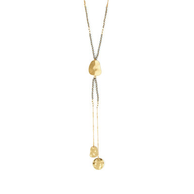 Splendid Iris Gold Necklace With An Abstract Oval With Two Gold Long Abstract Ovals