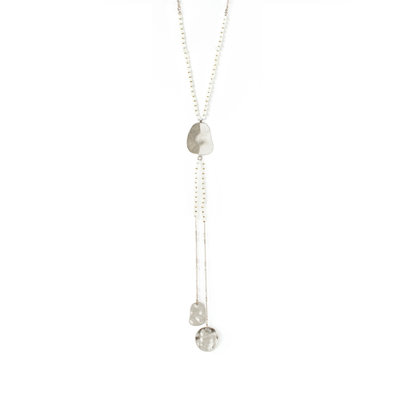 Splendid Iris Silver Necklace With An Abstract Oval With Two Silver Long Abstract Ovals