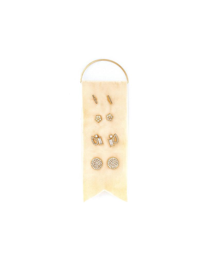 Splendid Iris Gold Stud Earring Set w/ Cream Velvet Ribbon