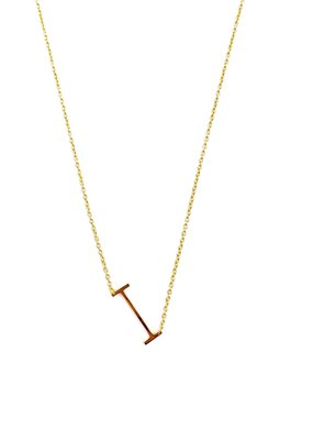 iishii Sterling Silver Gold Plated Initial I Necklace