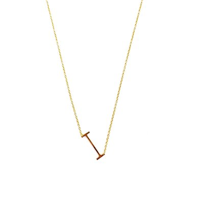 iiShii Designs Sterling Silver Gold Plated Initial I Necklace