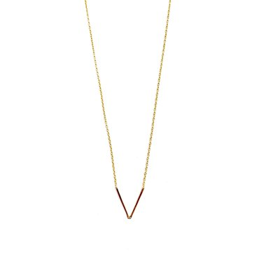 iiShii Designs Sterling Silver Gold Plated Initial V Necklace
