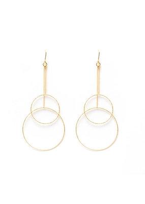 Splendid Iris Long Gold Delicate Double Circle Earrings