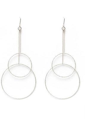 Splendid Iris Long Silver Delicate Double Circle Earrings