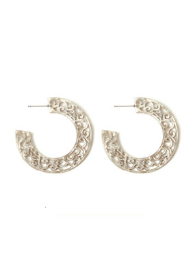 Splendid Iris Grey Etched Acrylic Hoop Earrings